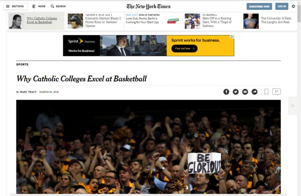 Why Catholic Colleges Excel at Basketball, The New York Times, March 30, 2018