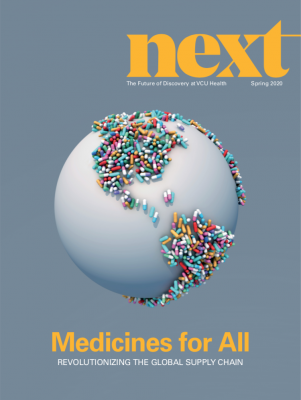 Screencapture of Next magazine cover with digital illustration of globe with medicine covering the land areas.