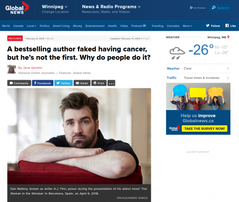 A bestselling author faked having cancer, but he's not the first. Why do people do it?
