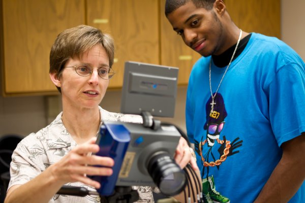 Wake Forest rising sophomore Spencer Carter ('14) works with biology professor Miriam Ashley-Ross in her lab in Winston Hall.