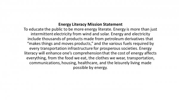 Energy Literacy Mission Statement