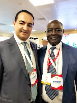 Mohamed Dekkak Chairman and Founder of Adgeco Group and H.E Vincent Bamulangaki Ssempijja (MP) Minister of Agriculture, Animal Industry & Fisheries, Uganda at Russia-UAE-Africa Food Security Forum 2018 at World Trade Centre Dubai.
