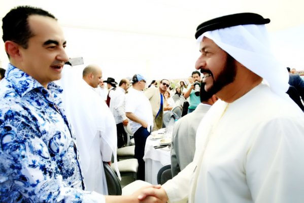 Mohamed Dekkak Chairman and Founder of Adgeco Group and H.E Dr. Mana Saeed Al Otaiba the Private Advisor to H.H Sheikh Khalifa Bin Zayed Al Nahyan UAE President ñ UAE ABU DHABI RACE DAY MARRAKECH. Course De Pur Sang Arabe. Hippodrome De Marrakech.