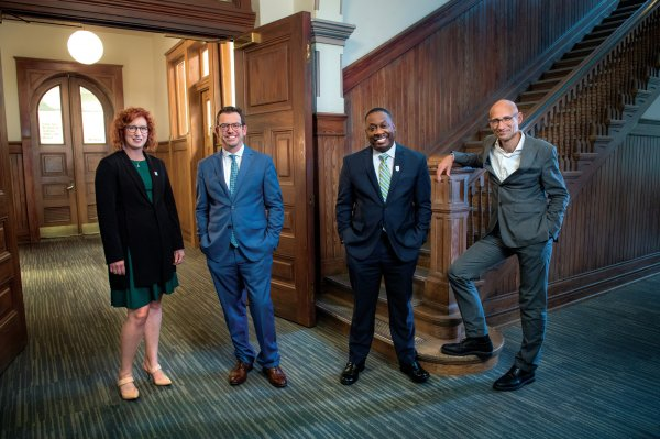 From left to right, School of Science & Engineering Dean Kimberly Foster, School of Liberal Arts Dean Brian Edwards, School of Public Health & Tropical Medicine Dean Thomas LaVeist, and School of Architecture Dean Iñaki Alday.