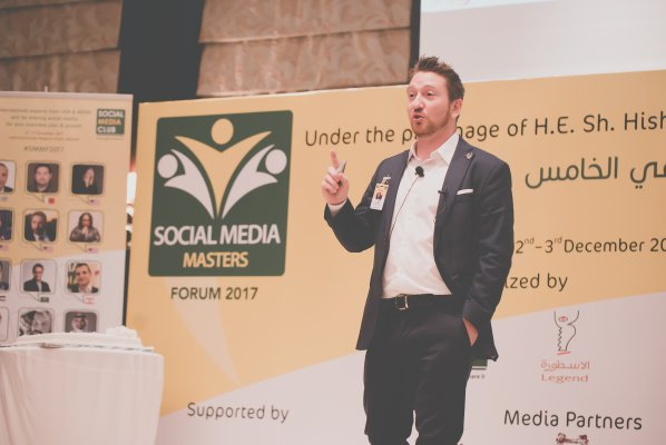 Jeff Gibbard speaking at Social Media Club Bahrain
