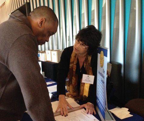 Leslie Ellis-Lang exhibiting at the California Alliance of Child and Family Services' Executive's Winter Conference, 2016
