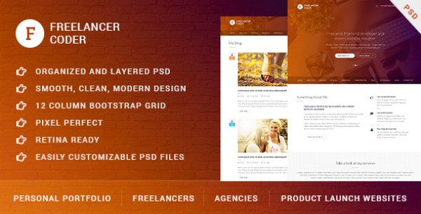 Freelancer Coder – One Page Responsive Portfolio Design
